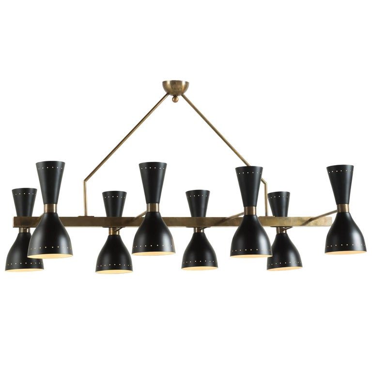 Black & Brass 8-Shade Chandelier, Italy, 21st Century For Sale