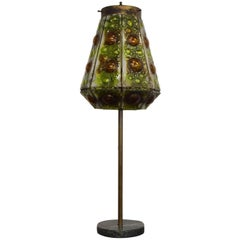 Mexican Modernist Table Lamps with Glass Tiles Shades, Feders