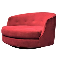 Large Milo Baughman Swivel Lounge Chair