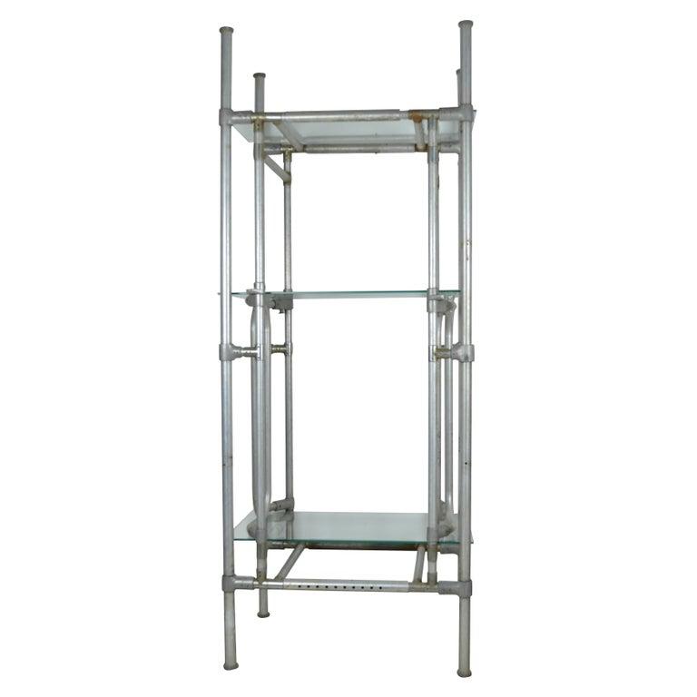 vintage tubular aluminium industrial shelving or etagere. Black Bedroom Furniture Sets. Home Design Ideas
