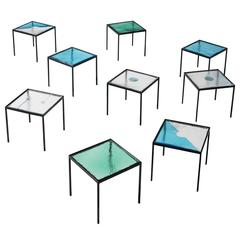 Very Large Set of Side Tables in Structured Glass and Steel