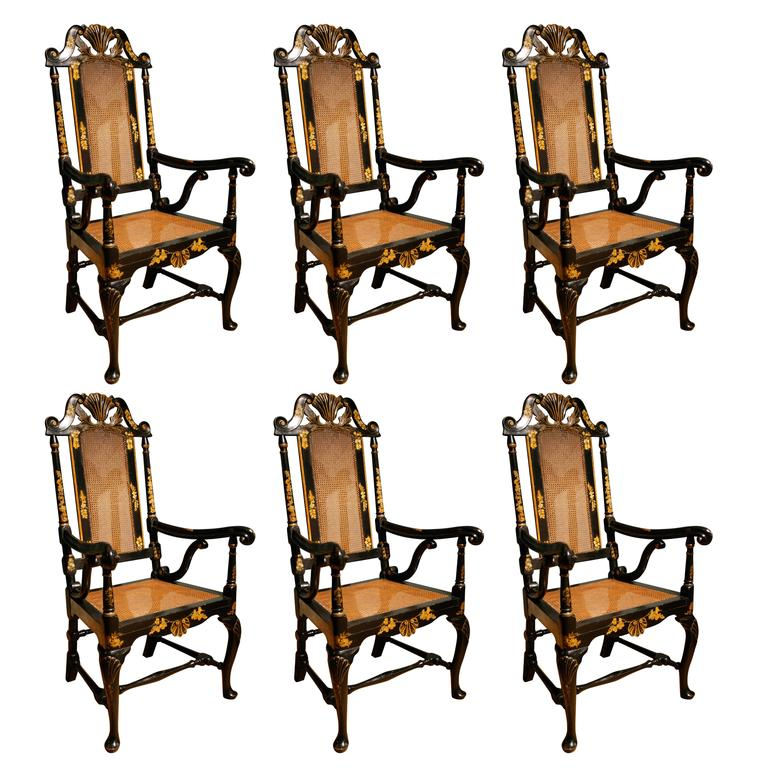 Set of Six Japanned Armchairs, circa 1720 1