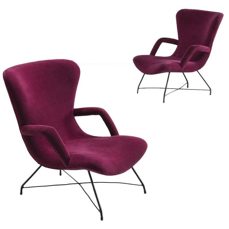 Eisler & Hauner Pair of Magenta Chairs, 1950s