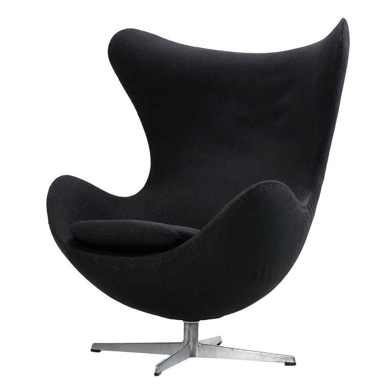Authentic Arne Jacobsen for Fritz Hansen Egg Chair Reupholstered in Black, 1960s