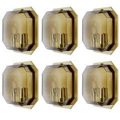 One of Six Geometric Smoked Topaz Glass & Brass Wall Lights by Limburg c. 1980