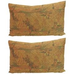 Pair of Vintage Orange Woven Japanese Obi Decorative Bolster Pillows