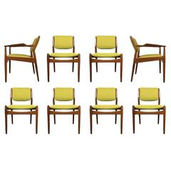 Set of Eight Danish Dining Chairs Designed by Arne Vodder