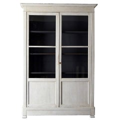 Cabinet French White Glass Doors 19th Century France