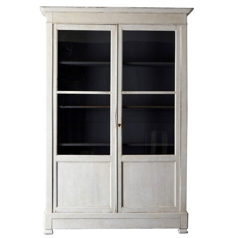 Cabinet french white glass doors 19th century france for for White french doors for sale