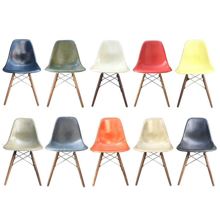 225 & 10 Multicolored Herman Miller Eames Dining Chairs