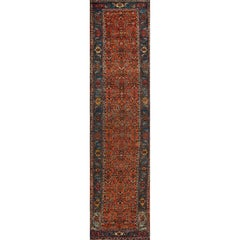 Antique Red and Blue Persian Bidjar Runner Rug