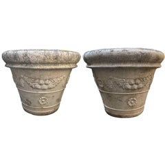 Large Pair of French Cast Stone Planters with Floral Wreath Swag Detail
