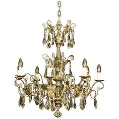 Italian Silver Eight-Light Antique Chandelier