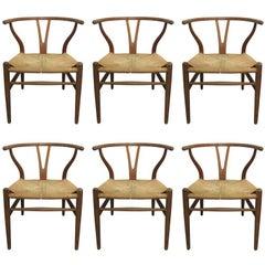 6 Wishbone Hans Wegner Y Chairs