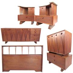 Vintage Modern Sculptural Walnut Bedroom Set