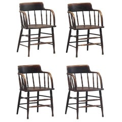 Taylor & Hobson Wooden Armchairs, circa 1900