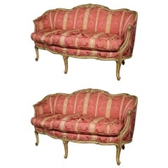 French Finely Carved Louis XV Settees, Canapes by Widdicomb