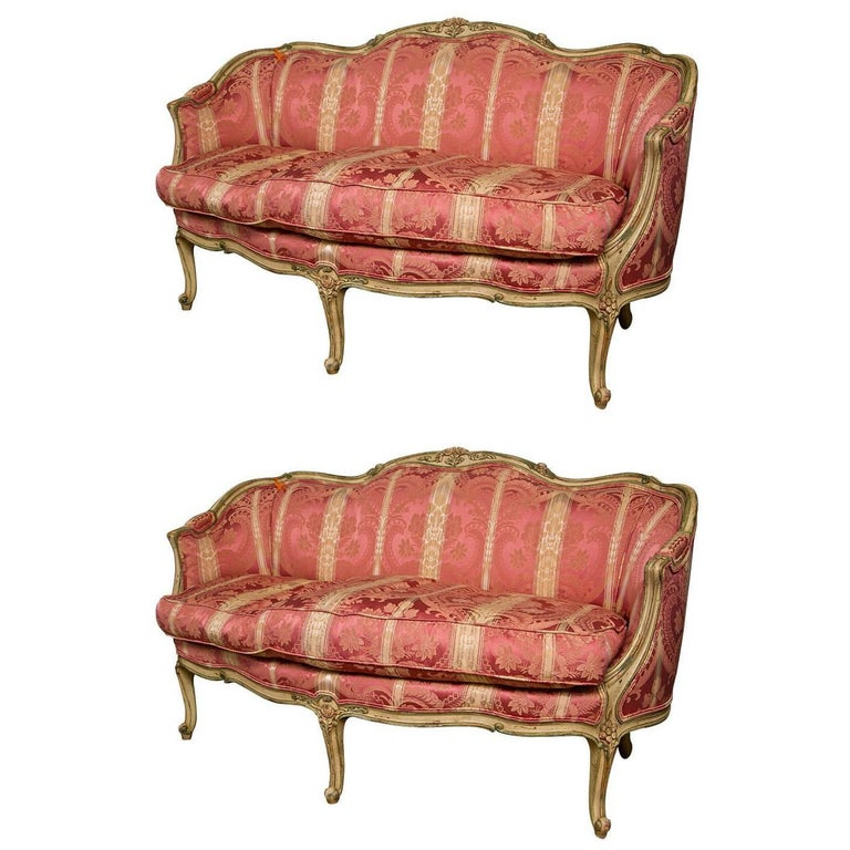 French finely carved louis xv settees canapes by for Canape in french