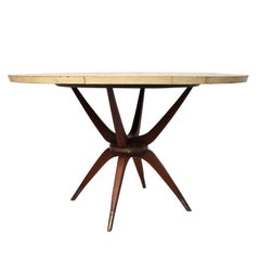 Mexican Modernist Dining Table in Goatskin Mahogany and Brass