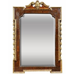 George II Giltwood, Burl Elm and Marquetry Mirror