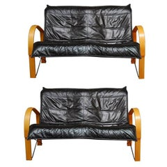 Pair of Mid-Century Scandinavian Bentwood and Leather Sofas