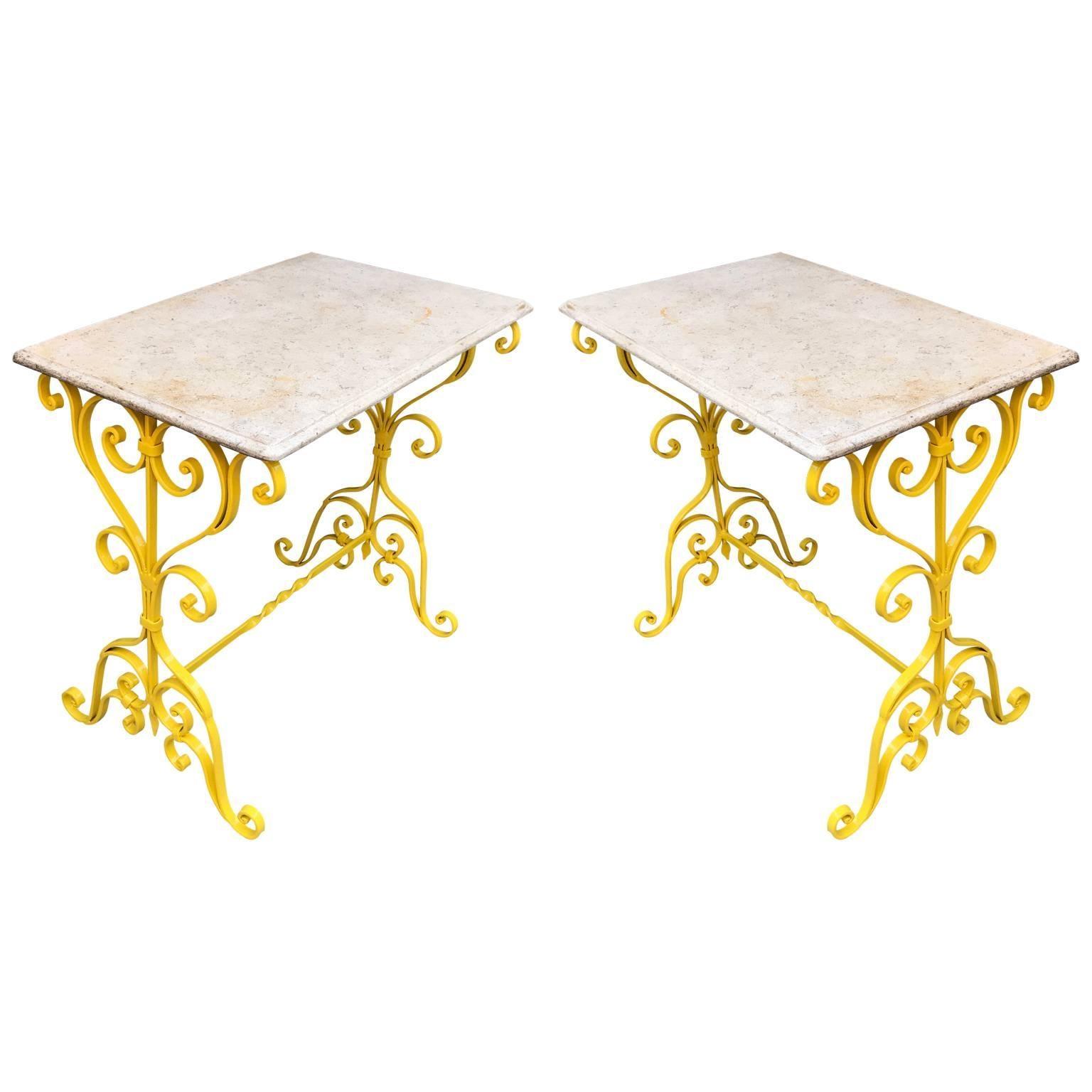 Single Sunshine Yellow Metal Garden Stone-Top Table