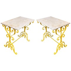 Pair of Yellow Metal Garden Stone-Top Tables