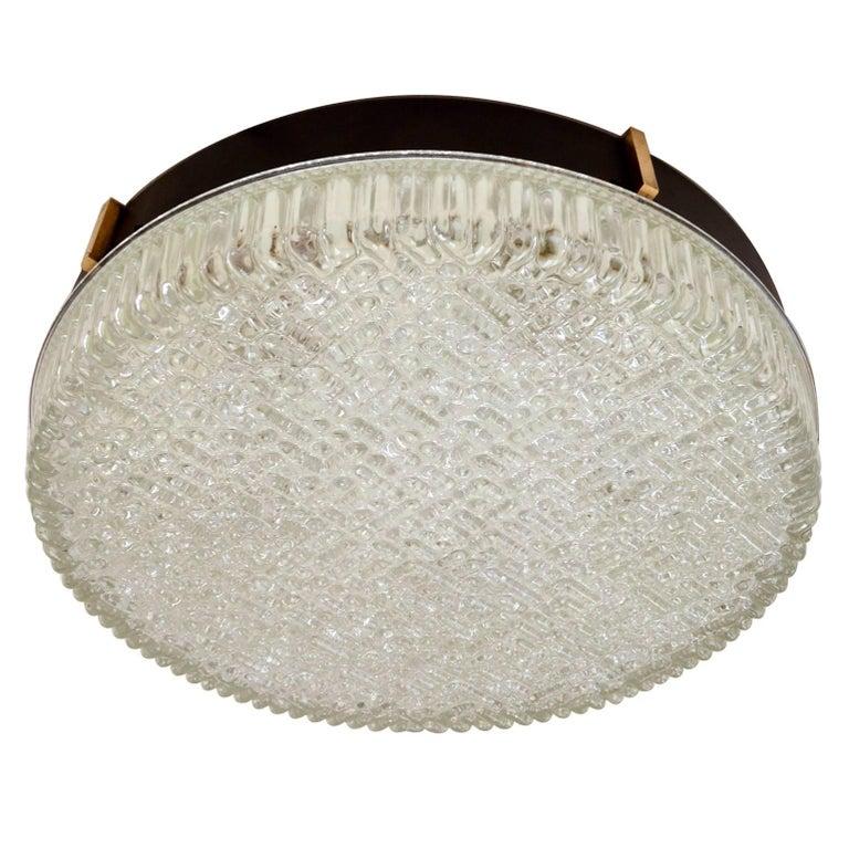 Large 1960s Flush Mount Glass Pendant of wall lights by N Leuchten