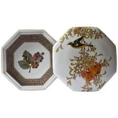 Japanese Octagonal Kutani Porcelain Decorative Box by Master Artist