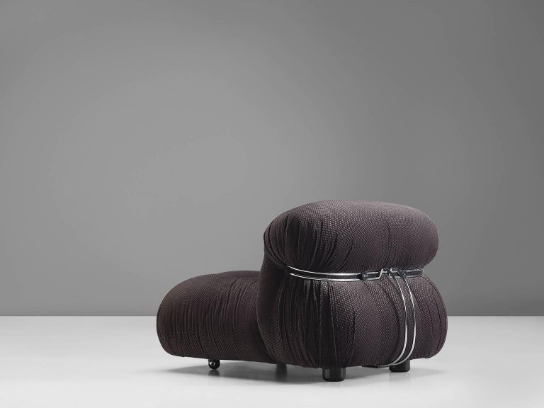 'Soriana' chair, in grey fabric and metal by Afra & Tobia Scarpa for Cassina, Italy, 1969.  Iconic chair by Italian designer couple Afra & Tobia Scarpa, the Soriana proposes a model that institutionalizes the image of the informal sitting where