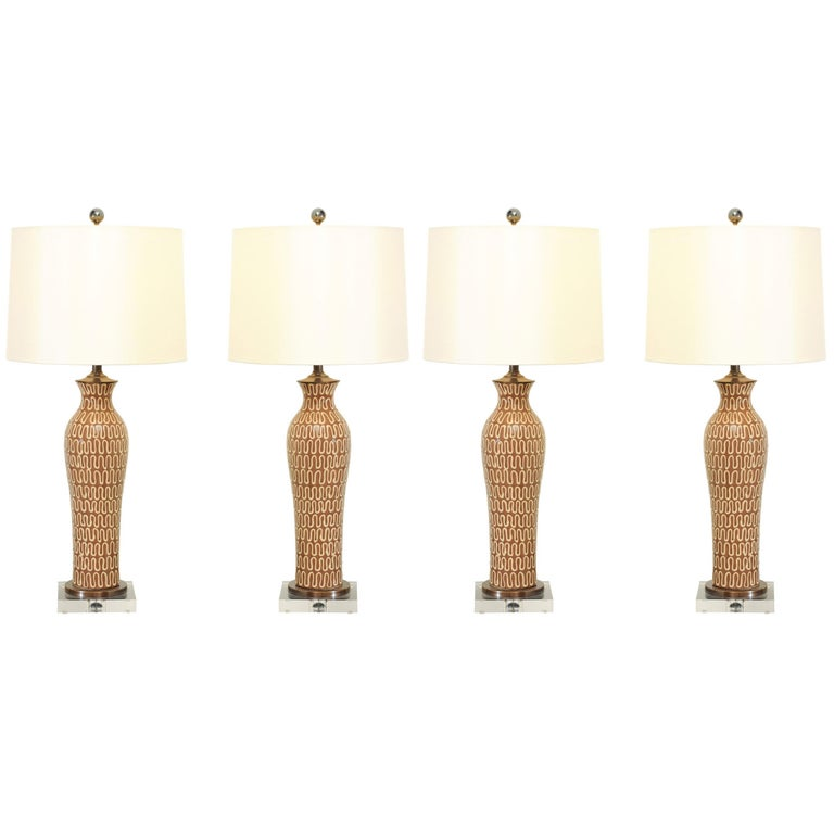 Gorgeous Pair of Glazed Ceramic Lamps with Lucite and Bronze Accents