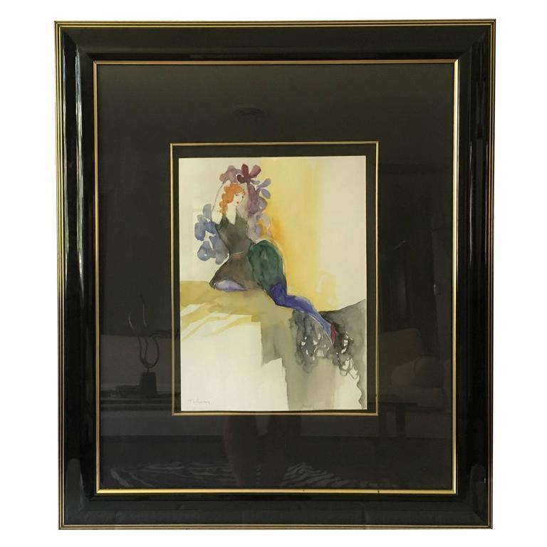 "1980s Itzchak Tarkey ""Antoinette"" Original Watercolor, Framed For Sale"