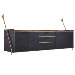 Wall-Mounted Credenza in Bronze and Burnt Pine from Amuneal's Collector's Series
