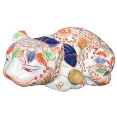 Japanese Big Imari Porcelain Crouching Cat Sculpture 90 Years Old, Signed Base