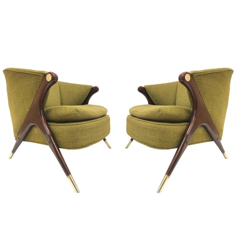 Karpen of California lounge chairs, 1950s, offered by Flavor