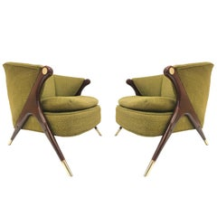 Karpen of California Mid-Century Modern Lounge Chairs, Pair