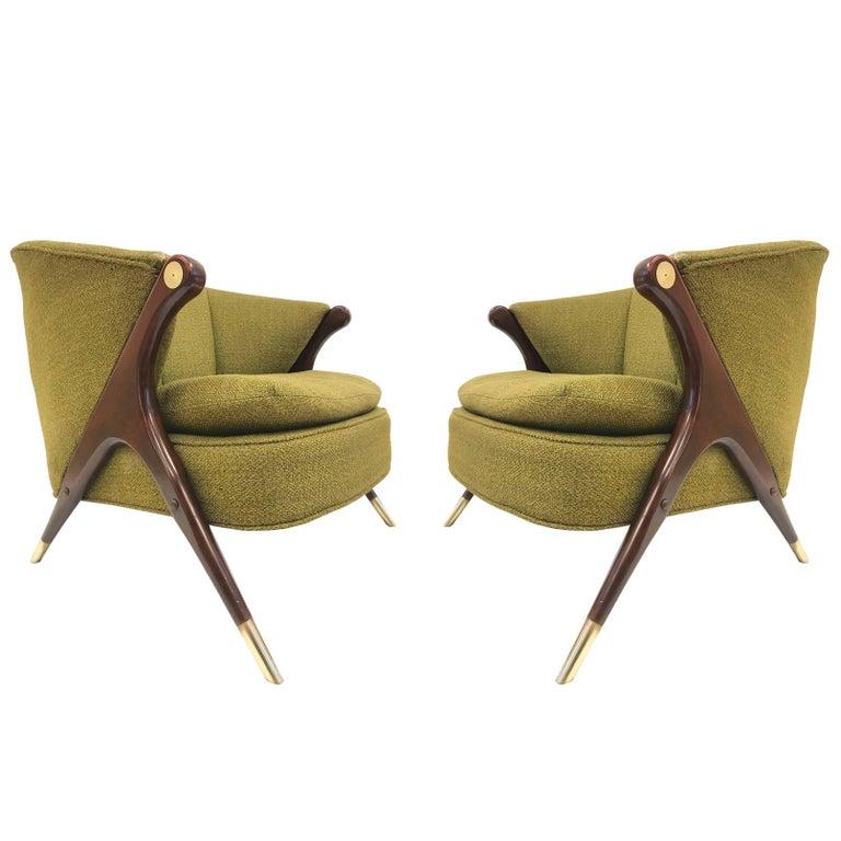 Karpen of California Mid-Century Modern Lounge Chairs, Pair