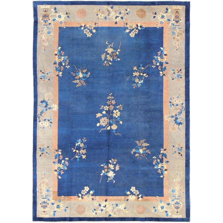 Large Antique Chinese Rug With Flowers And Vases In Navy Blue Tan For