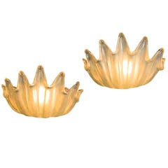 Ercole Barovier for Barovier & Toso Pair of Rare Glass Sconces, Italy, c. 1940