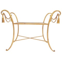 Italian Gilded Iron Bench with Tassels