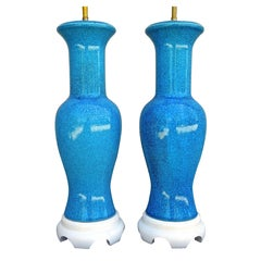Large Pair of Italian 1950s Chinoiserie Turquoise Table Lamps