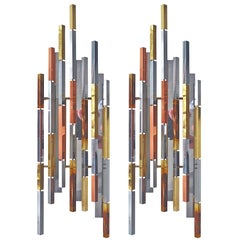 Pair of Brutalist Multi-Metal Sconces by R. H. Berger