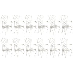 Twelve French Garden Chairs Attributed to Rene Prou Painted White Wrought Iron