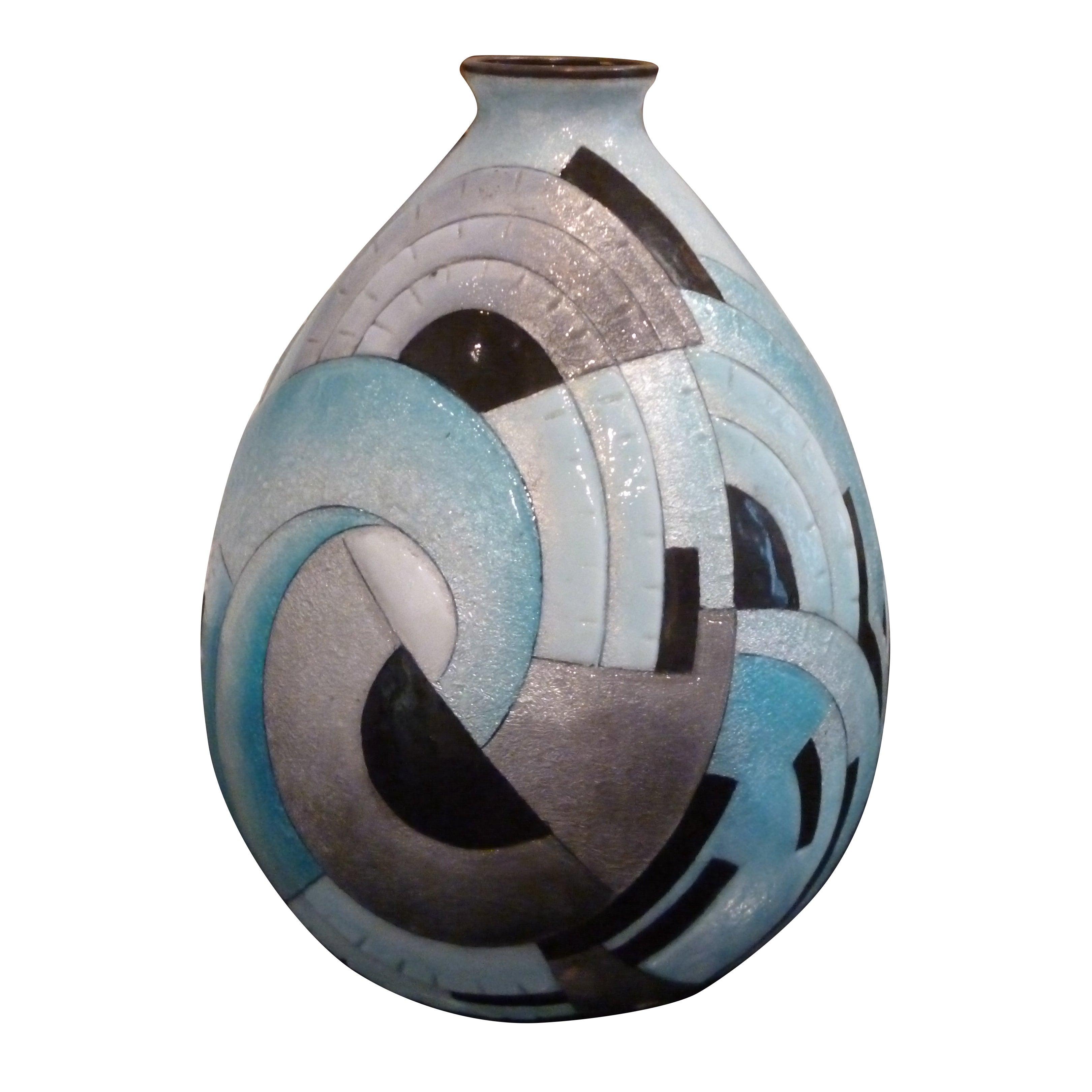 French, Art Deco, Enamel, Copper, Vase by Camille Fauré, European, Blue