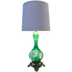 Vintage Emerald Green Cut To Clear Crystal & Bronze Mount Lamp