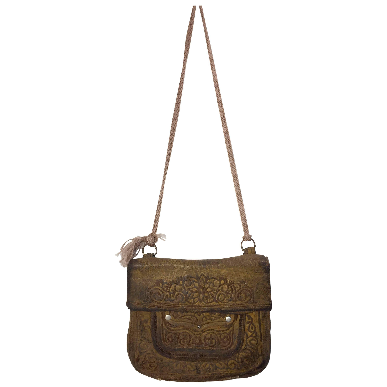 African Hand Tooled Leather Moroccan Shoulder Bag