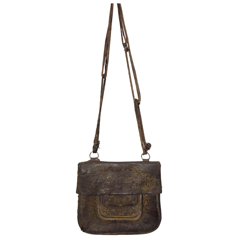 African Hand Tooled Leather Tribal Shoulder Bag