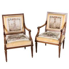 Nineteenth Century Louis XVI Style Walnut Armchairs With Gobelins Tapestry