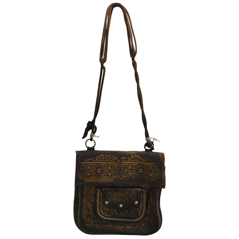 d4489c2abba8 Old Hand Tooled Leather Moroccan Satchel Bag For Sale at 1stdibs