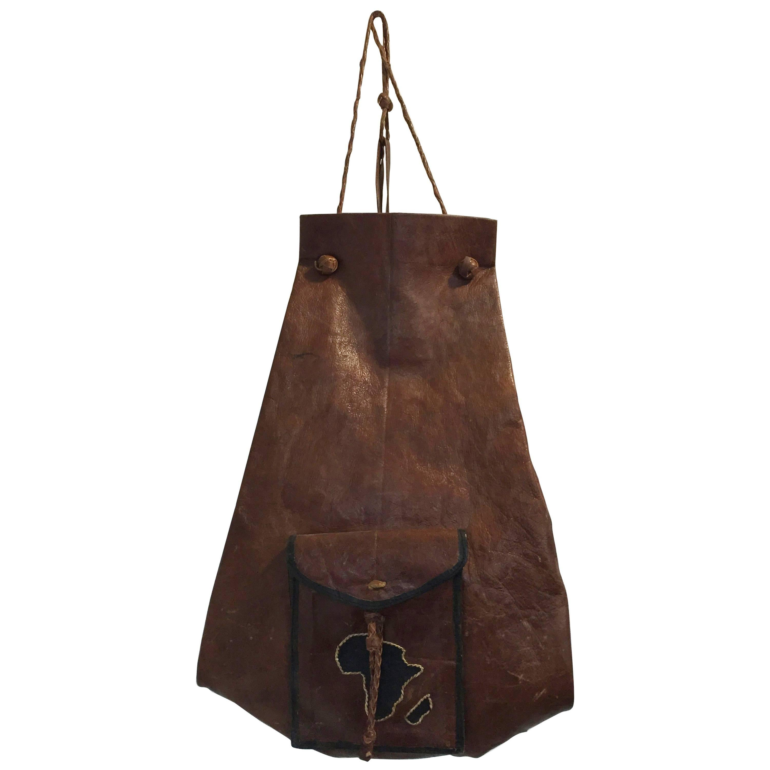 African Vintage Tuareg Hand Tooled Leather Bag with Africa Map